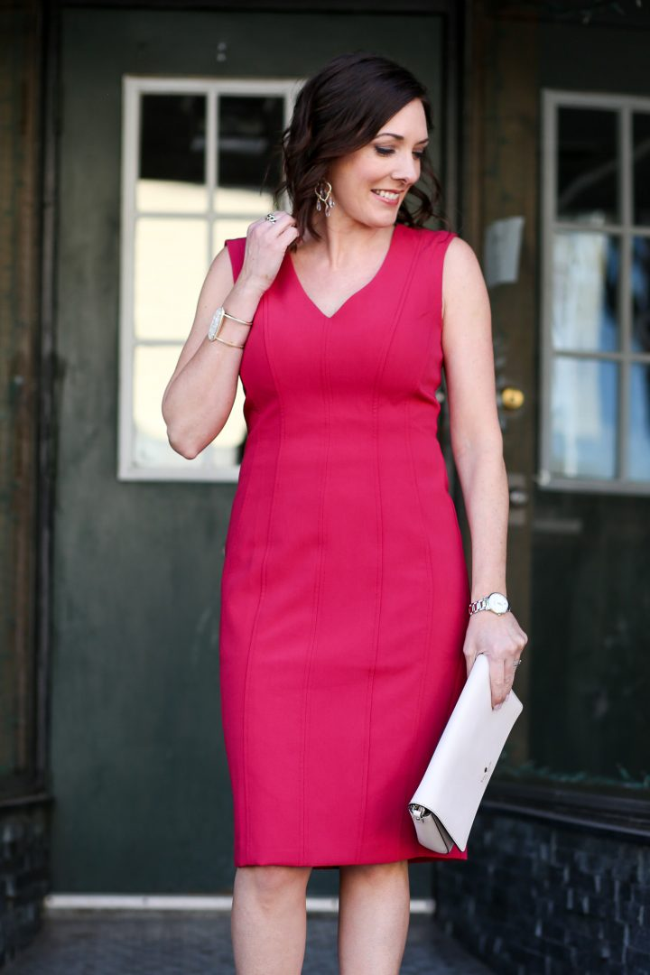 What to Wear to a Spring Wedding: Raspberry Seamed Sheath