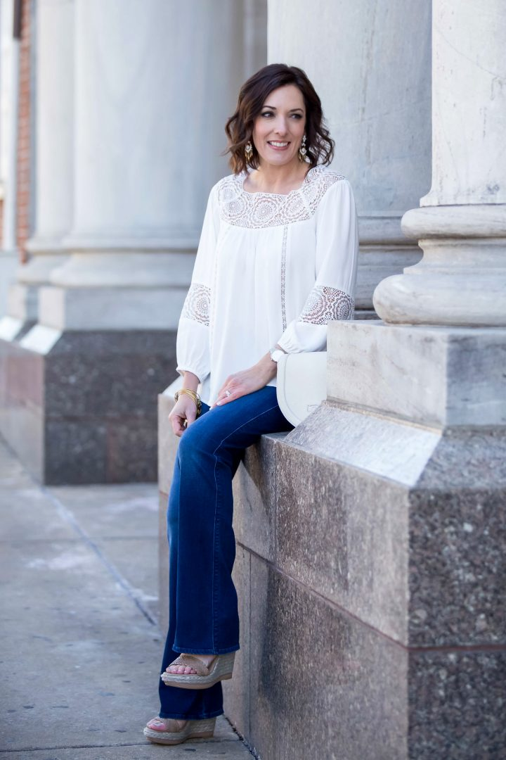 Lace Trim Joie Peasant Blouse with Bootcut Jeans