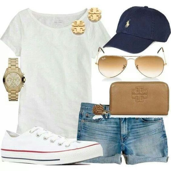 My go-to soccer mom outfit: jean shorts, white tee, Converse & casual accessories!