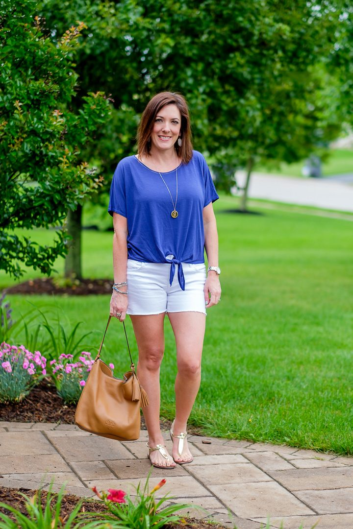 A casual tie front tee and shorts outfit with gold thong sandals. This is pretty much what I live in every day all summer long.