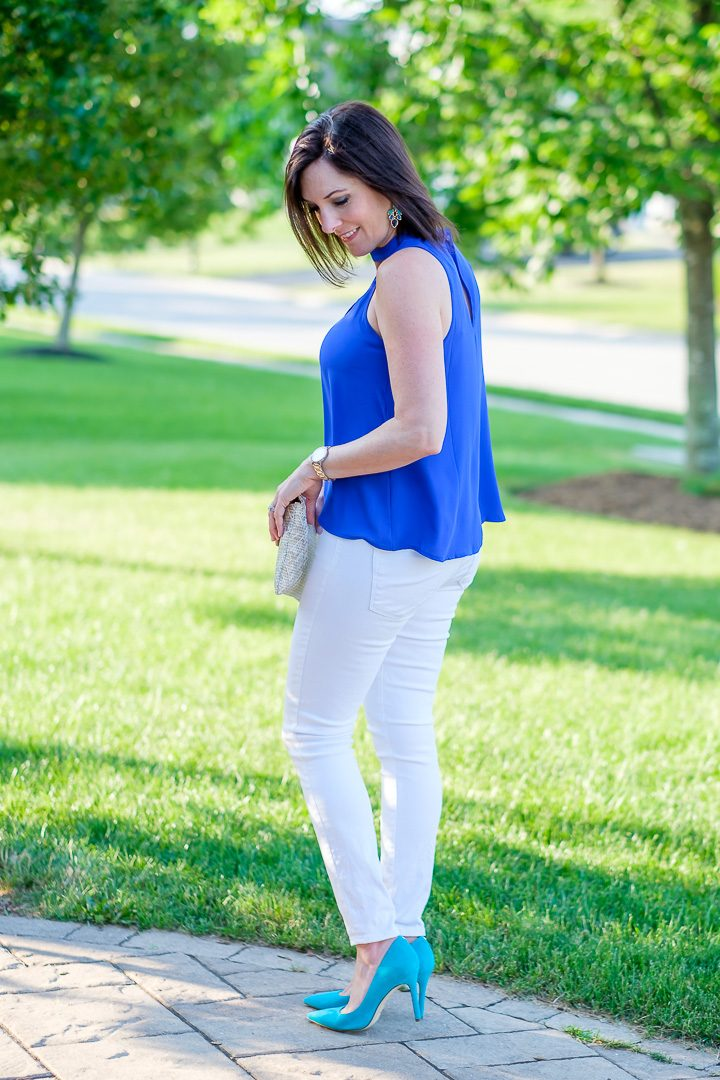 Choker Neck Top Outfit with blue Lush choker swing tank, white jeans, and turquoise pumps