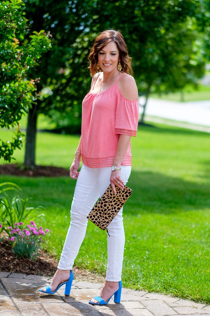 Coral Cold Shoulder Top with White Jeans and Blue Sandals & Leopard Clutch