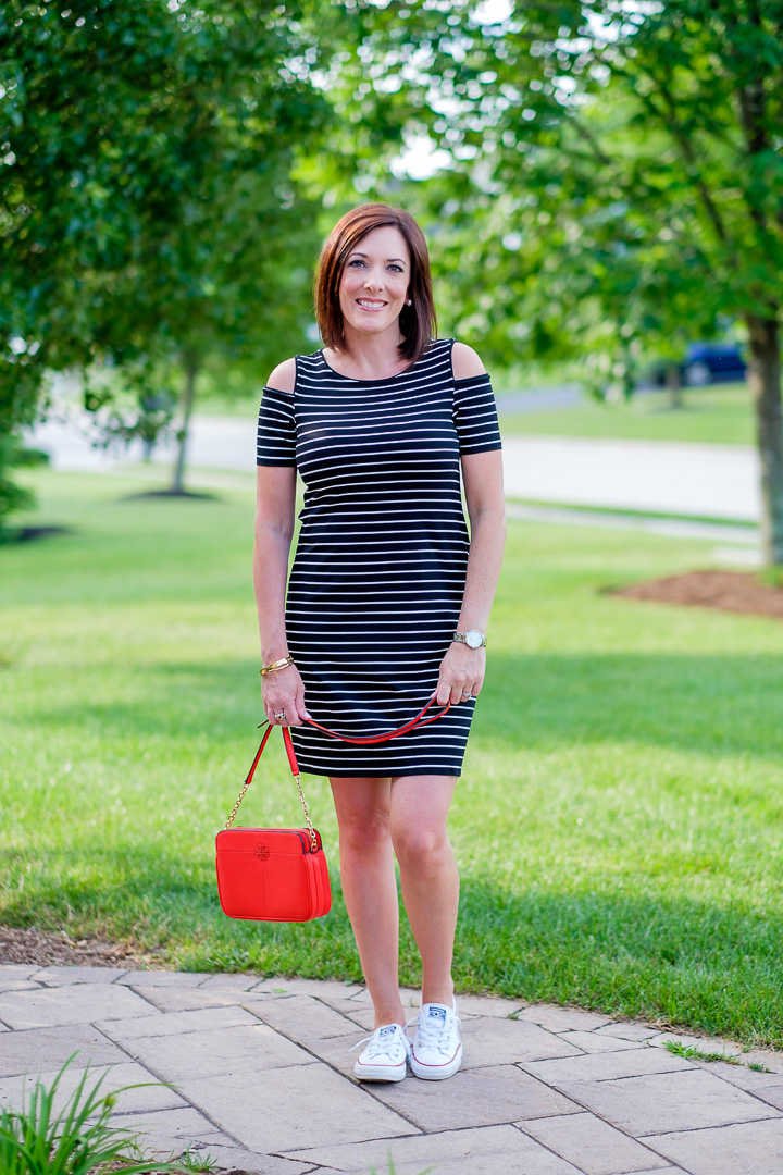 Cold Shoulder Striped Sneaker Dress with red handbag and Converse Shoreline