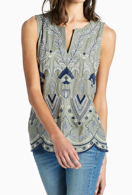 Lucky Brand Embroidered Shell