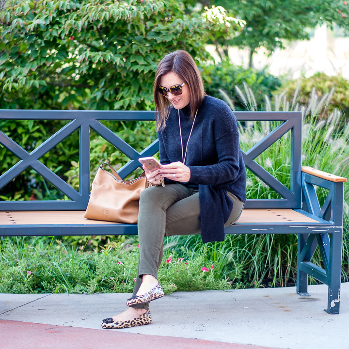 Fall Fashion for Women Over 40: This simple outfit is a combination of some of my favorite fall basics -- colored denim, leopard flats, a black sweater, and a neutral handbag.